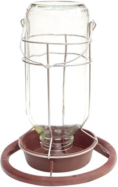 Tränke / Futterautomat mit Glaseinsatz - (1l)