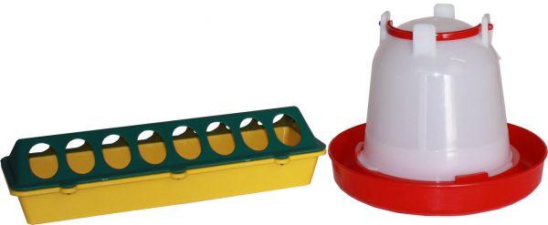 2 teiliges Set - Futtertrog (30x10 cm) und Tränke (1,5 L) für Küken
